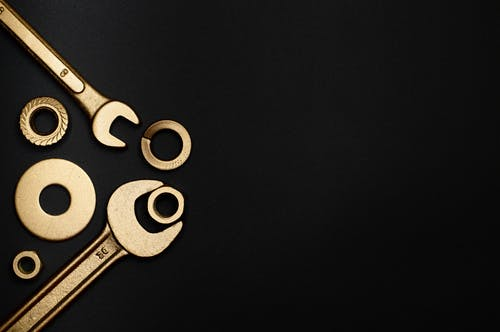 Silver Scissors on Black Textile