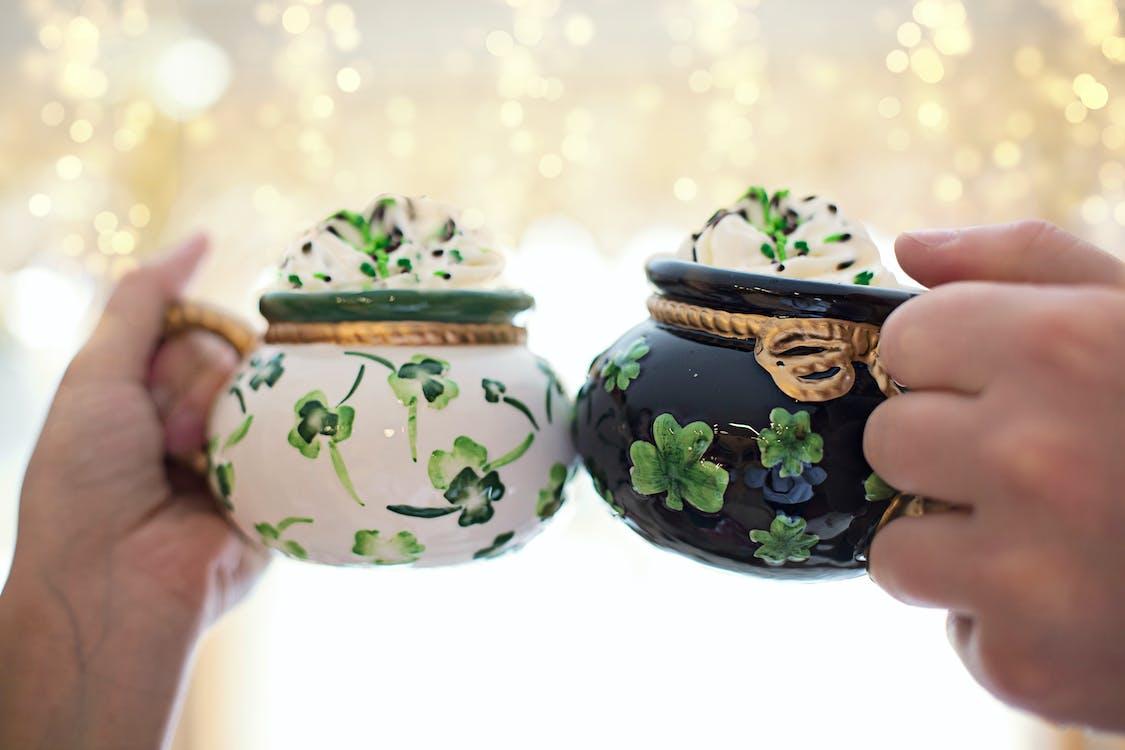Blue and Green Floral Ceramic Jar