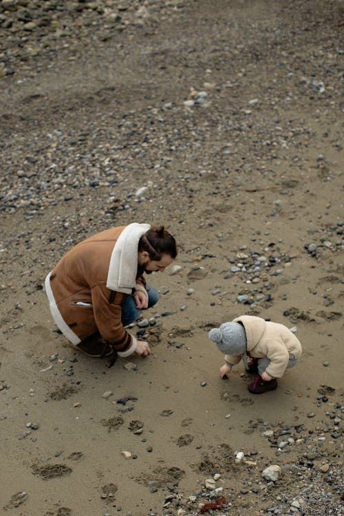 Father and child collecting stones on beach