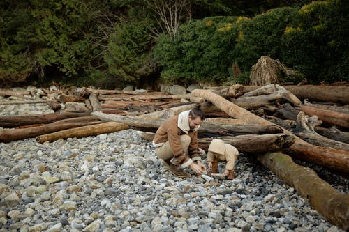 Father and kid spending time together on rocky shore near logs