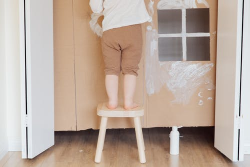 Photo Of Child Standing On Wooden Stool