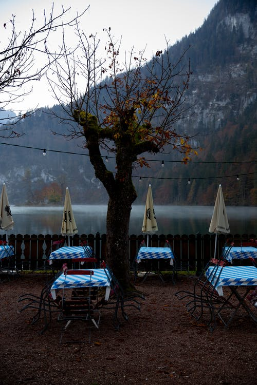 Empty terrace with tables near lake in overcast weather in autumn