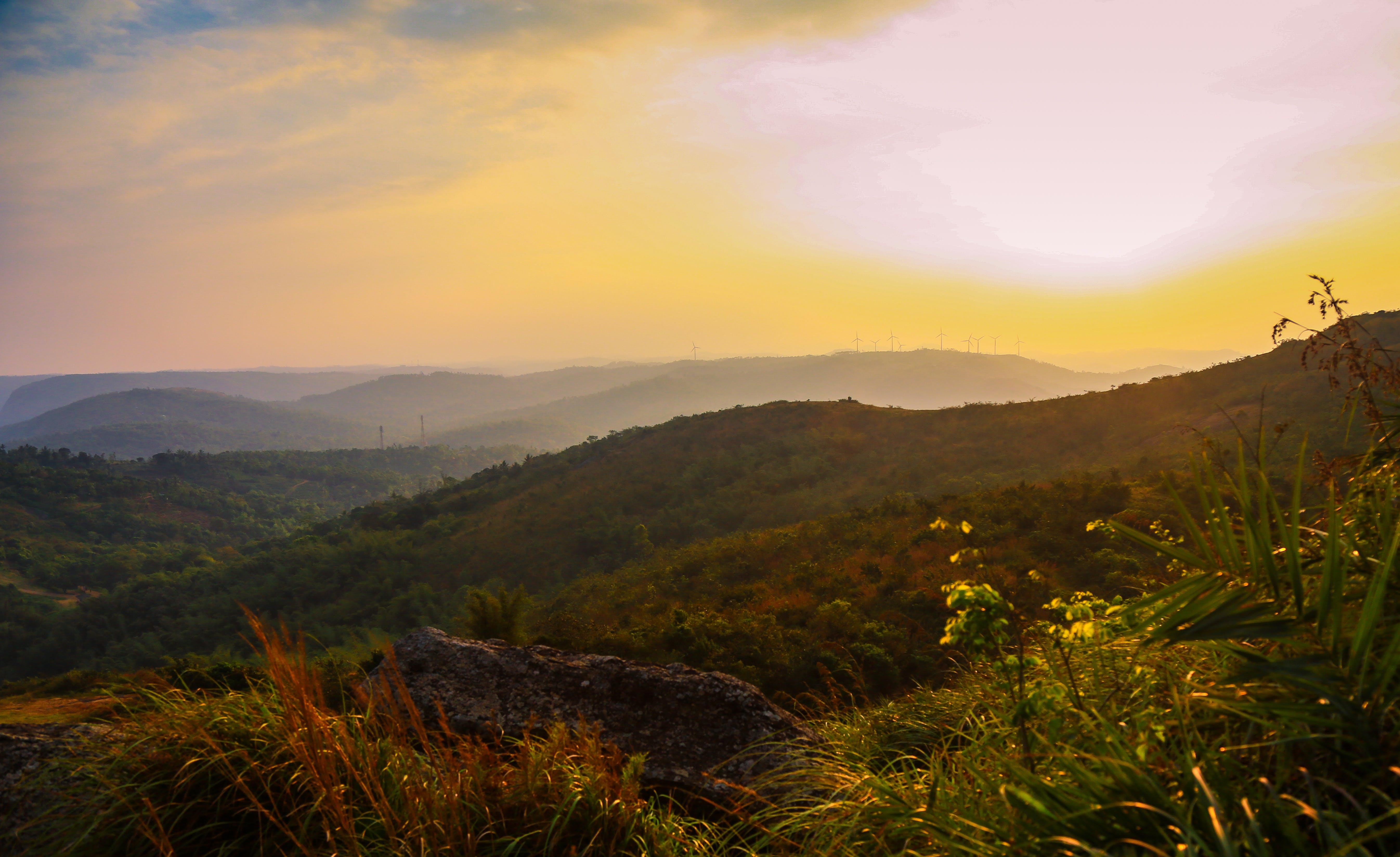 夕方, 山岳, 日没, 空の無料の写真素材