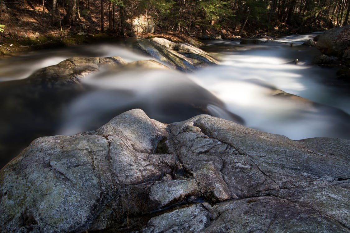Time-lapse Photograph of Stream Between Trees