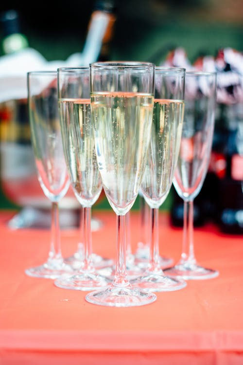 Close-Up Photo Of  Champagne Glasses