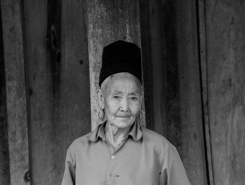 Monochrome Photo Of Old Woman