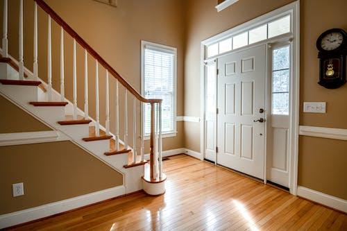White Wooden Door on Brown Wooden Parquet Floor