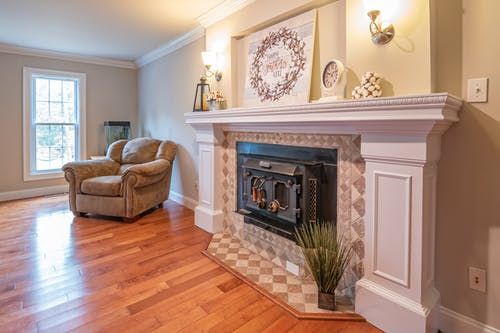 Photo Of Fireplace Near Sofa
