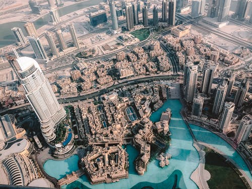 都市の建物の空中ショット