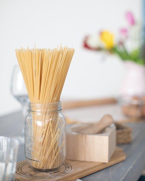 Spaghetti Noodles Inside A Glass Jar