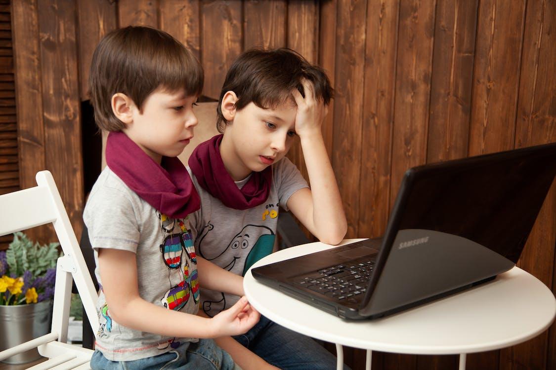 Boys Looking At Computer Screen