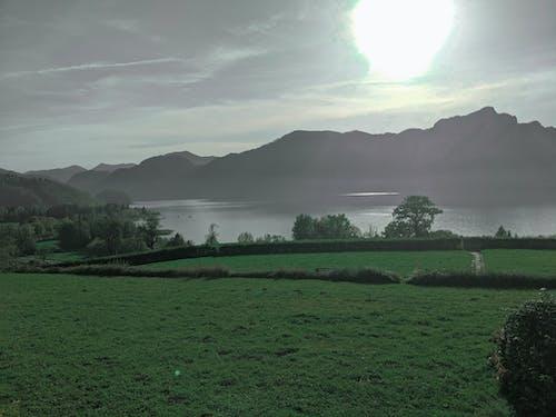 Free stock photo of blue lake, green grass, mountain background