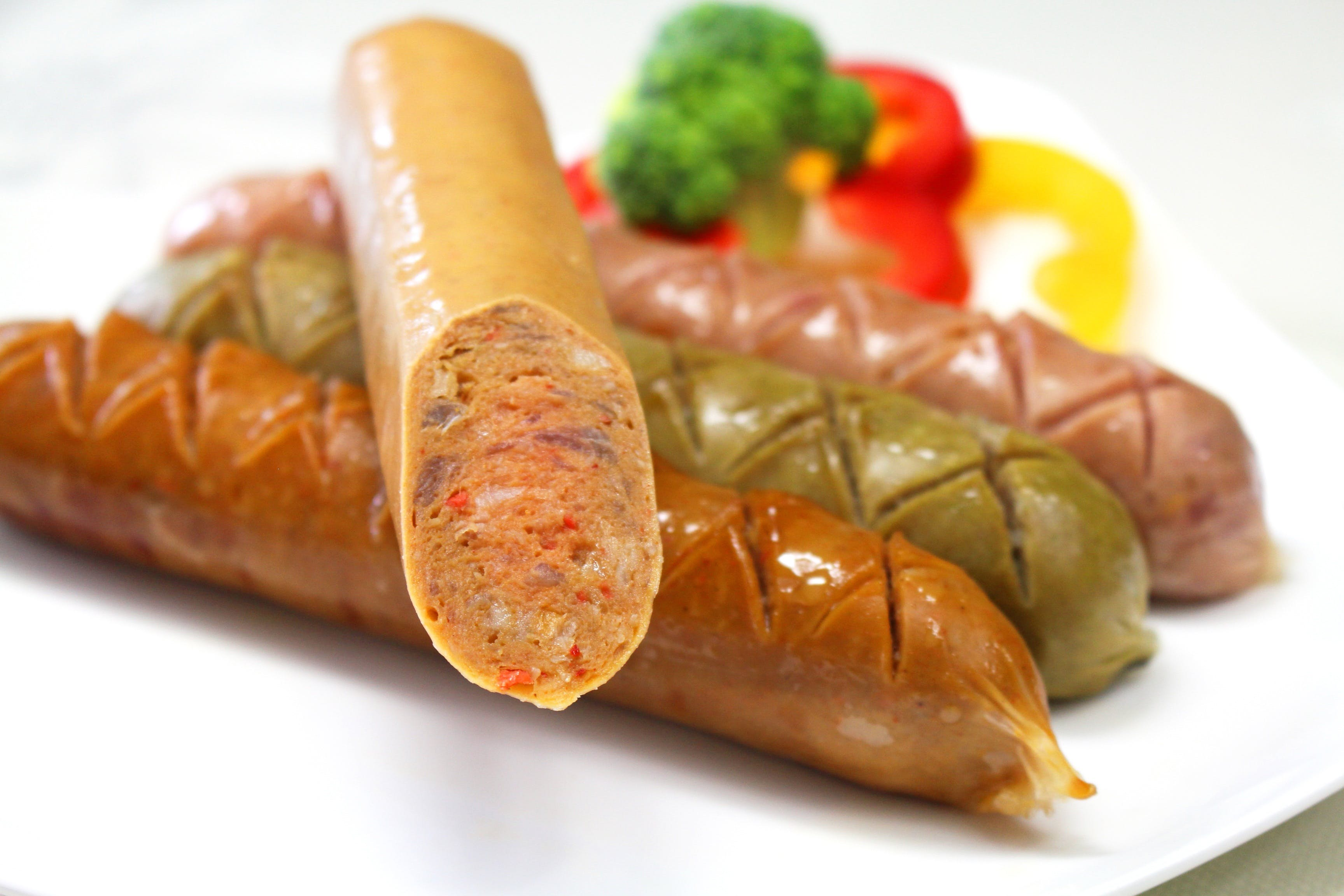 Sausage on White Plate