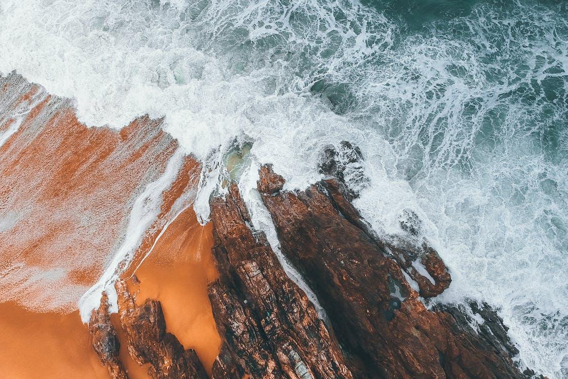 aérien, bord de mer, caillou