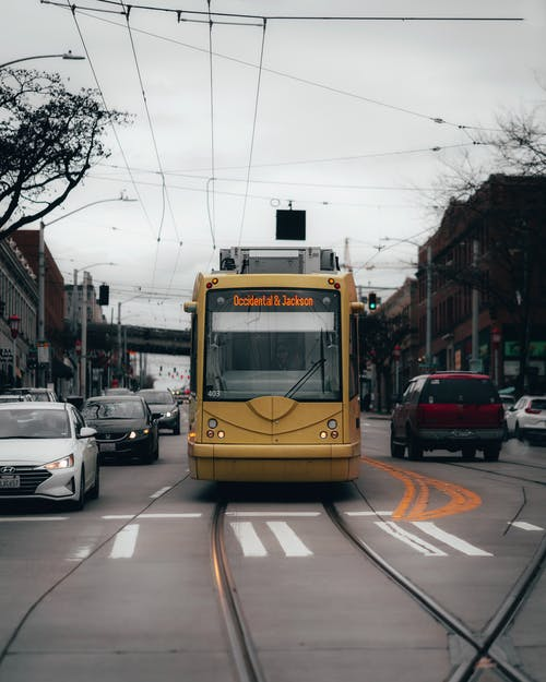 Yellow Tram On The Road