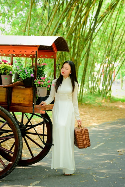 Pensive young Asian lady with vintage suitcase standing near carriage with big wheels on roadside under trees on sunny summer day