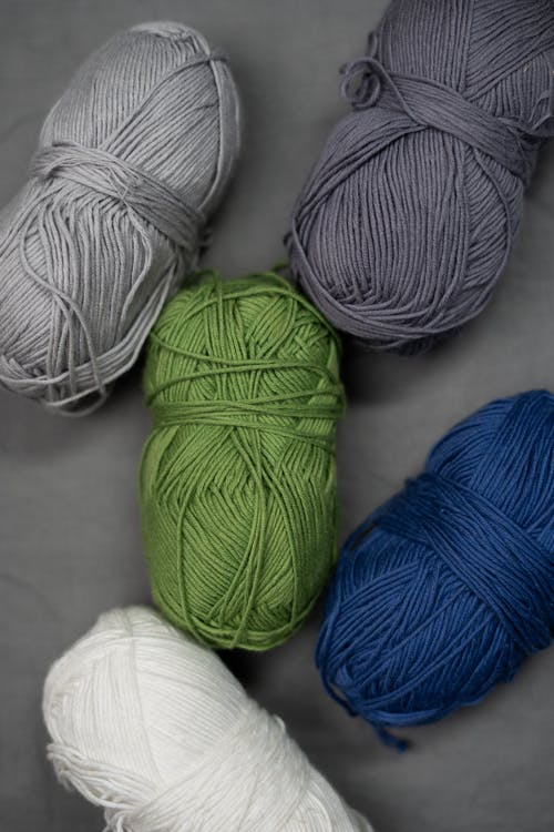 Blue White and Green Yarn