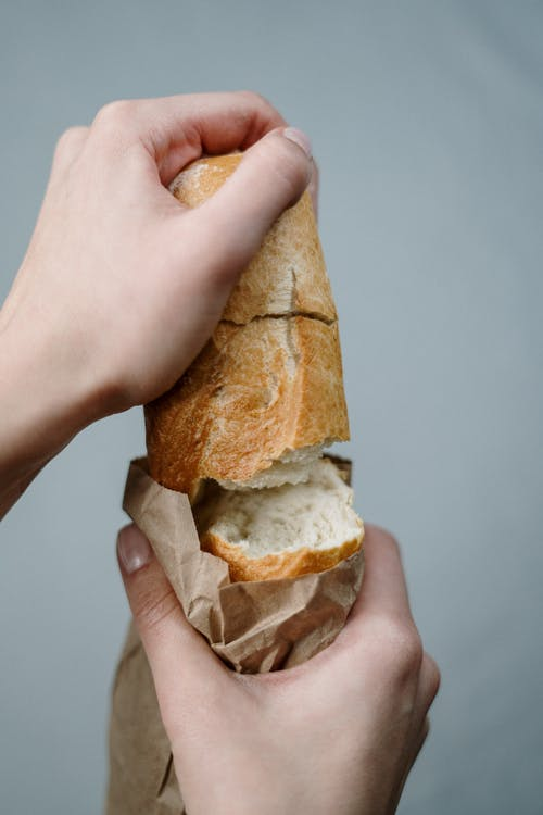 Person Holding Bread With White Background