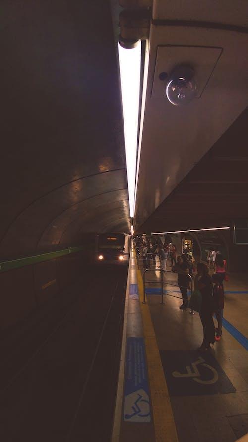 人们, 地鐵, 消失点, 燈光 的 免费素材照片