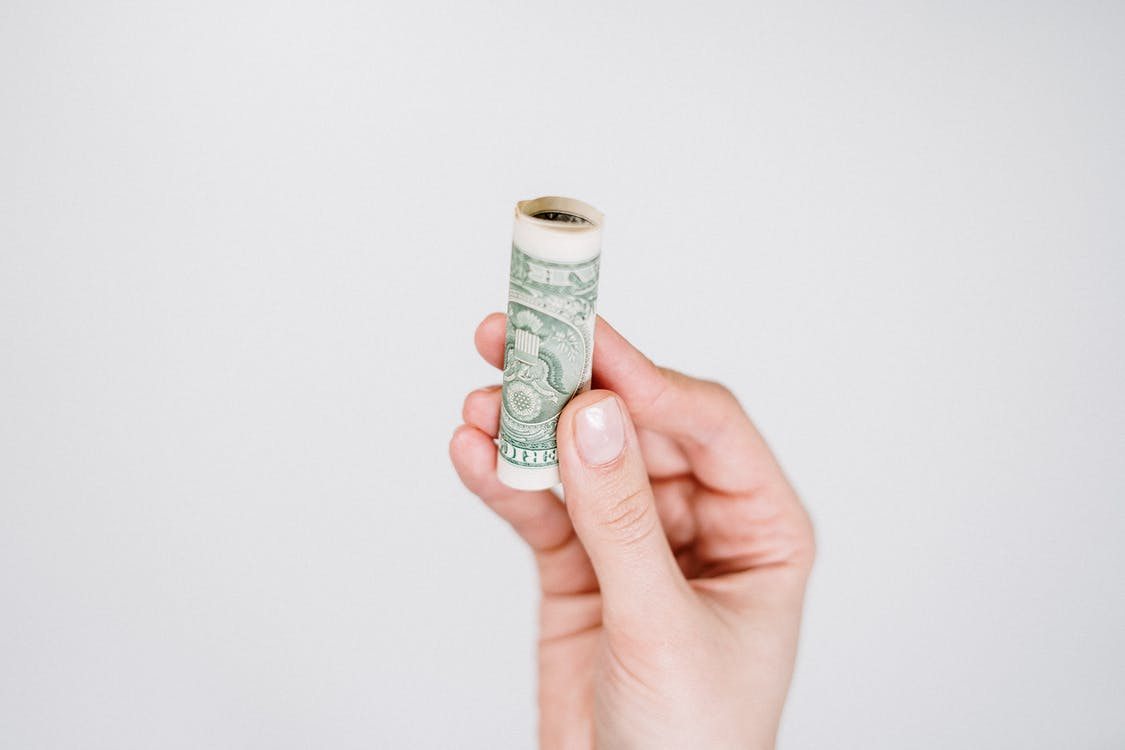 Person Holding Dollar Bill