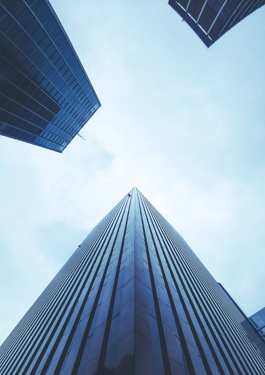 arquitectura, azul, céntrico