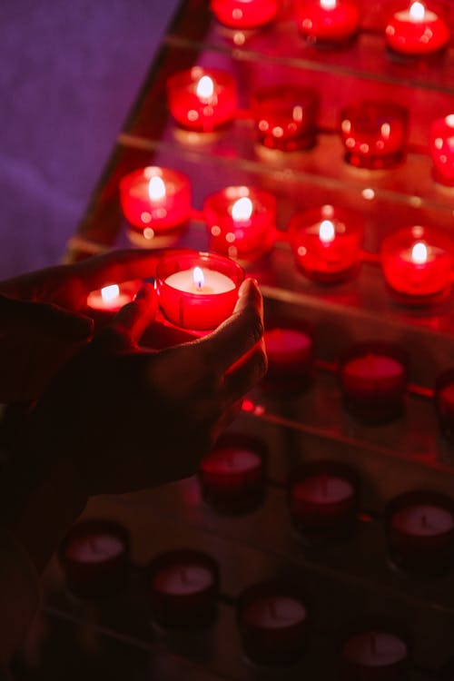 Lighted Red Candles