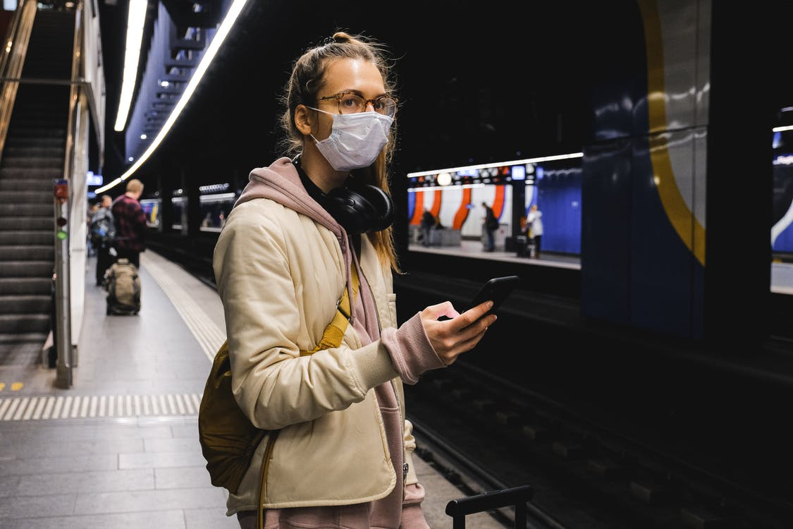 Woman With a Face Mask Standing on Train Station