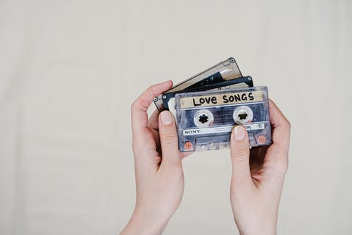 Blue and Black Cassette Tape