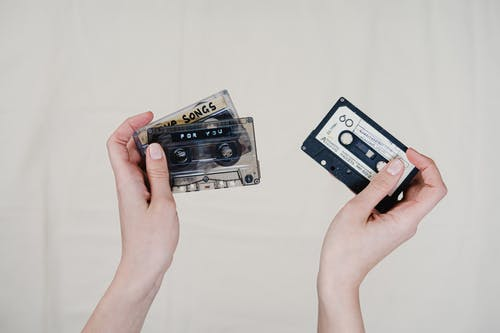 White and Black Cassette Tape