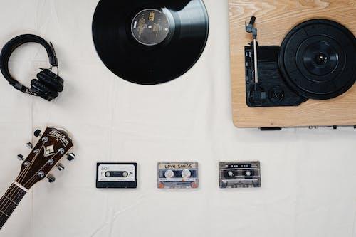 Black Vinyl Record on White Table