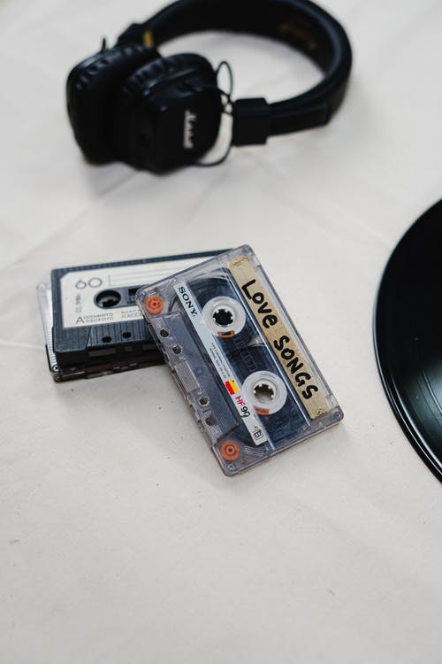 White and Blue Cassette Tape
