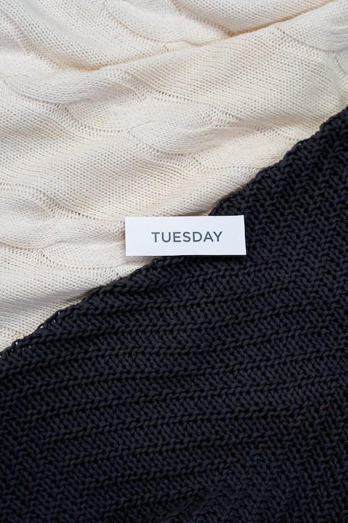 Black Knit Textile on White Textile