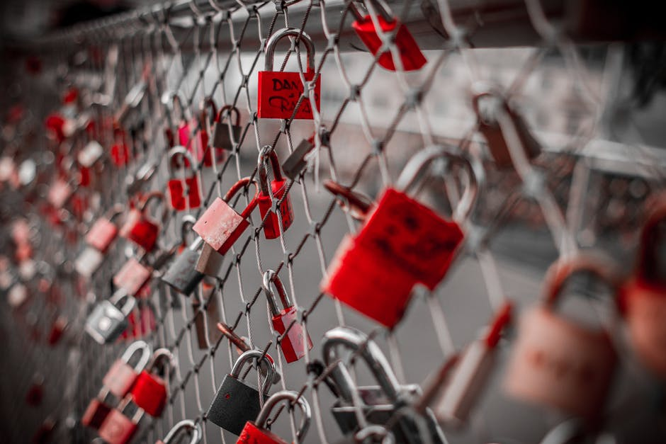 Red Padlock on Cyclone Fence