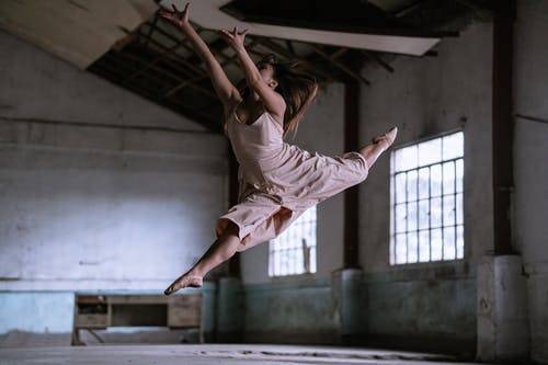 Ballerina Dancing Inside A Abandoned Building