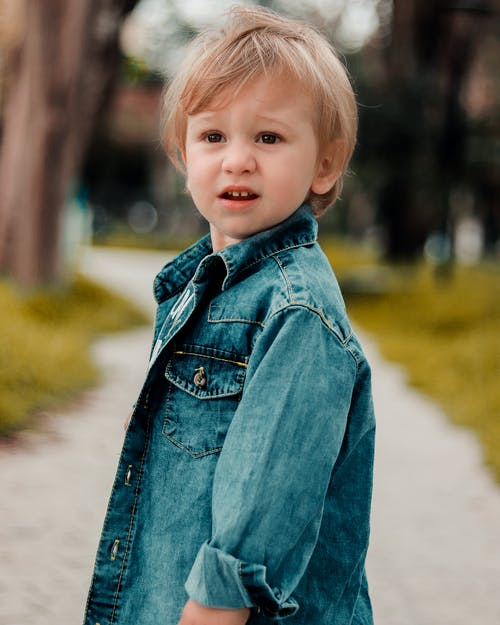 Boy In Blue Denim Button Up Jacket