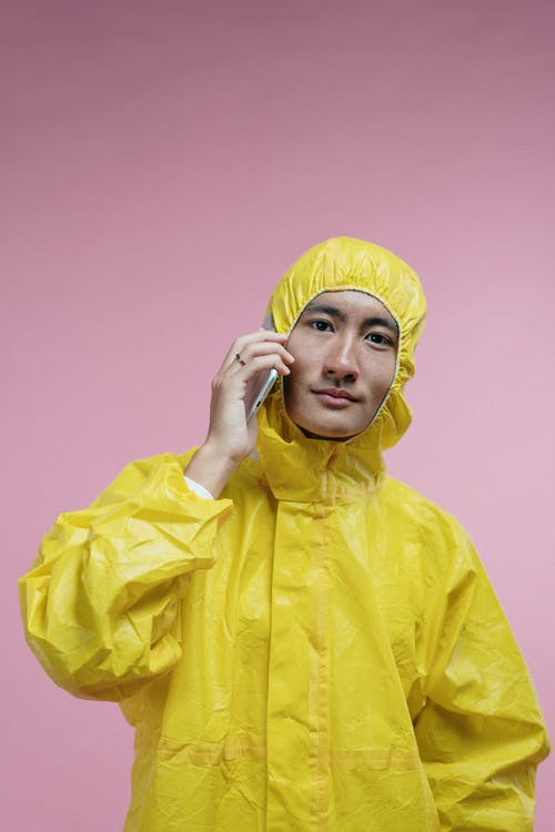 Man Wearing Yellow Coveralls