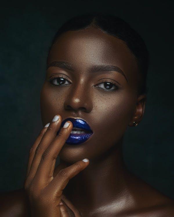 Woman Wearing Blue Lipstick