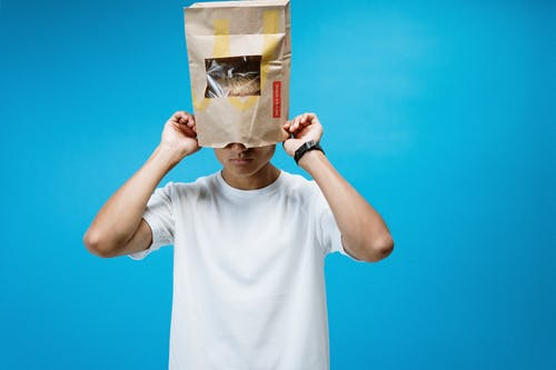 Man Wearing Paper Bag on Head