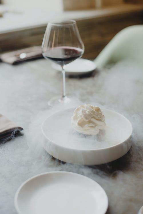 White Cream on White Ceramic Plate