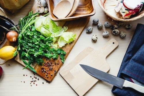 Kostnadsfri bild av grönsaker, ingredienser, kniv, köksutrustning
