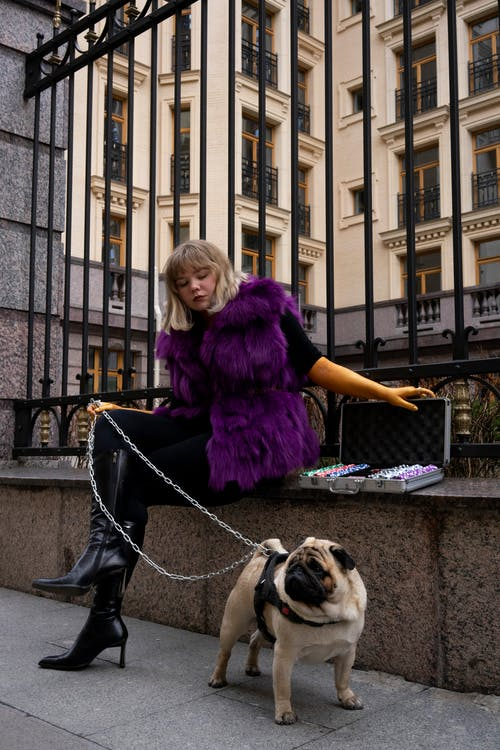 Woman In Purple Fur Coat