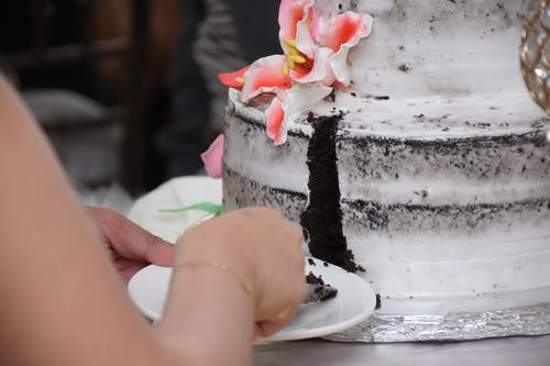 Person Slicing A Cake
