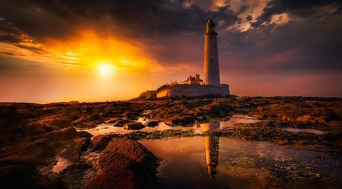 塔, 岩石, 岸邊 的 免費圖庫相片