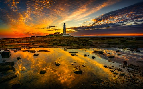 White Lighthouse On Rocky Shore During Sunset
