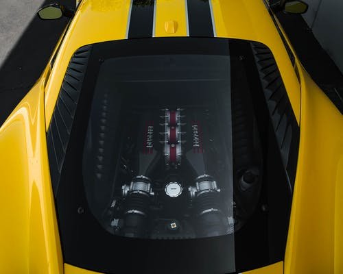 Yellow And Black Ferrari Car