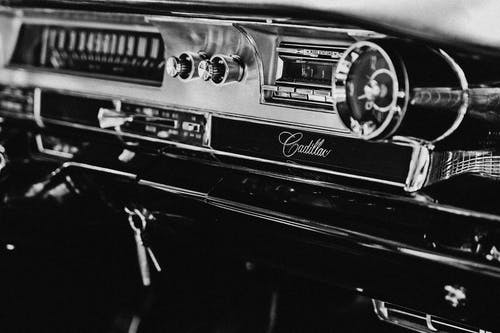 Black And White Photo Of Car Interior