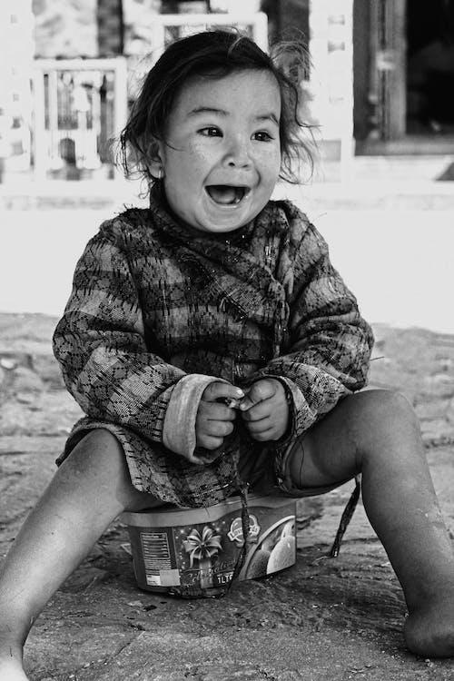 Free stock photo of black and white, child, happy