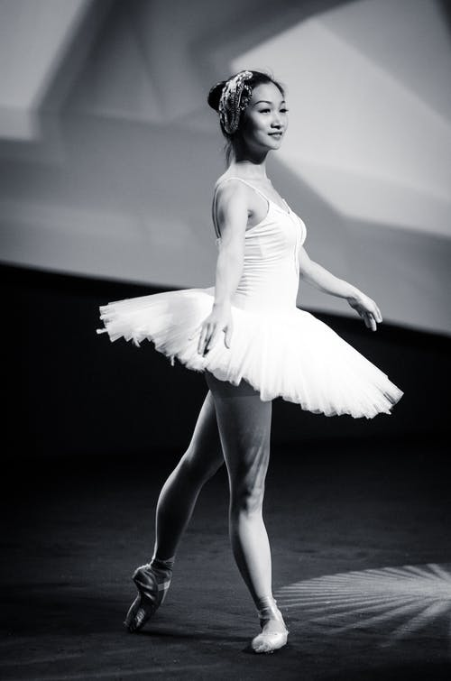 Grayscale Photo of Ballerina