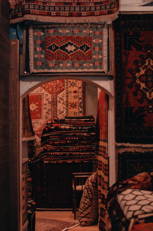 Black White and Red Tribal Rug