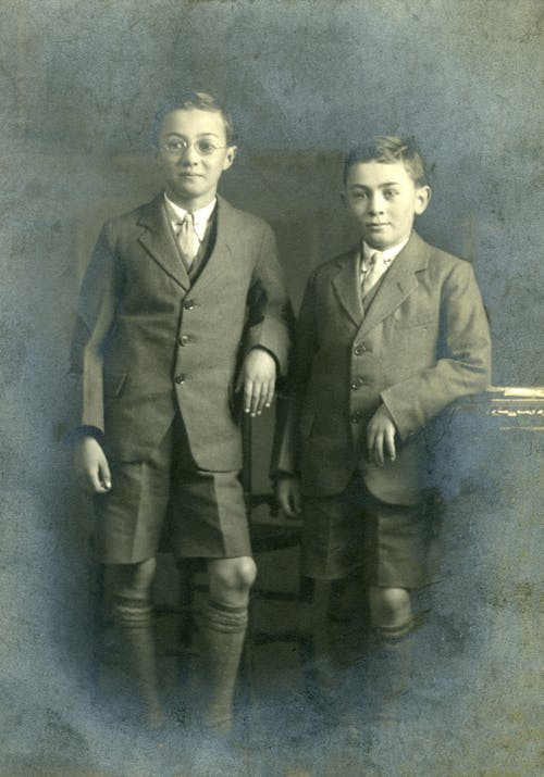 Vintage Photograph of Two Boys Wearing Black Tailored Suit and Shorts